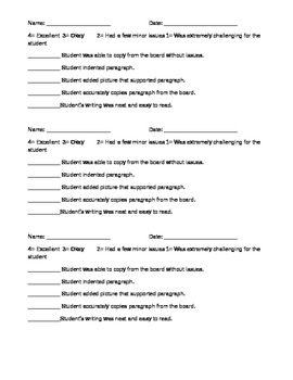 Copying From Board Rubric