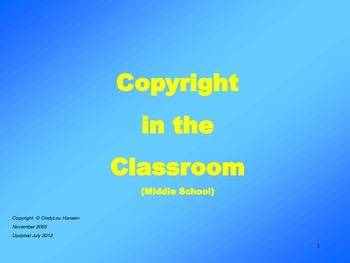 Copyright Basics Slide Show for Middle School