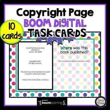 Copyright Page - Boom Cards Interactive Task Cards - Parts of a Book