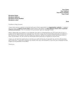 Copyright Violation Cease and Desist Letter Templates