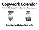 Copywork Calendar: Scripture and Virtue Based