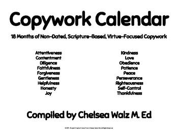 Copywork Calendar: Scripture and Virtue Based