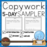 Copywork Sampler- One Week Primary Handwriting Practice Pack