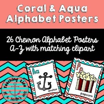 Coral & Aqua Alphabet Posters