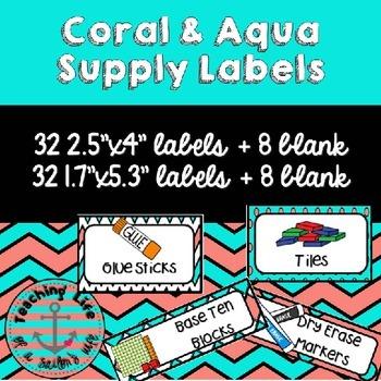Coral & Aqua Classroom Supply Labels