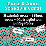 Coral & Aqua Daily Schedule Cards