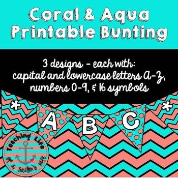 Coral & Aqua Printable Bunting