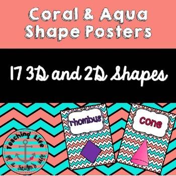 Coral & Aqua Shape Posters