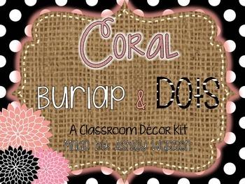 Coral, Burlap, and Black and White Polka Dots
