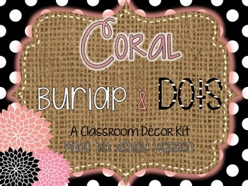 Coral, Burlap, and Black and White Polka Dots