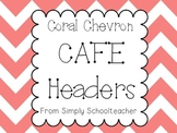 Coral Chevron Cafe Headers