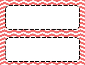 Coral Chevron Classroom Labels and Tags