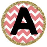 Coral Chevron and Gold Glitter Border Alphabet Labels