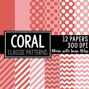 Coral Classic Designs- 12 Digital Papers
