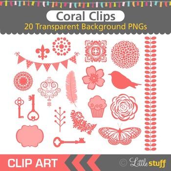 Coral Clipart, Coral Red Design Elements Clip Art