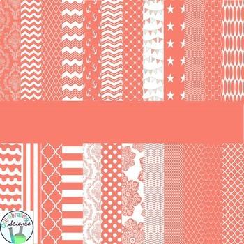 Coral Digital Paper Bundle