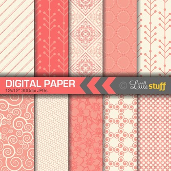 Coral Digital Paper, Pretty and Delicate Patterns Paper Pack