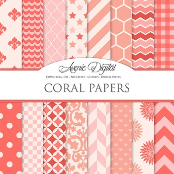 Coral Digital Paper patterns - bright color pink red scrapbook backgrounds