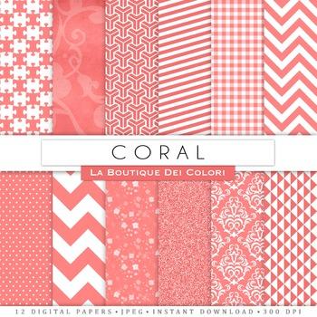 Coral Digital Paper, scrapbook backgrounds