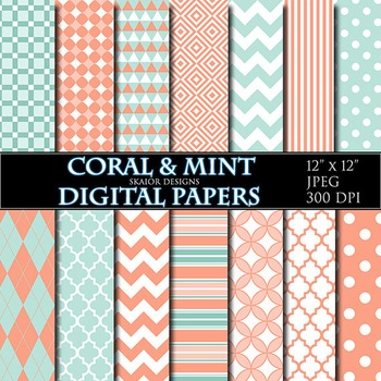 Coral Digital Papers Mint Papers Geometric Scrapbooking Printable Turquoise