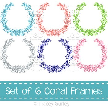 Coral Frames - set of 6 colors, coral wreath, Printable Tr
