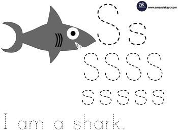 Freebie- Coral Friends Shark Letter Trace