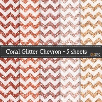Coral Glitter Chevron