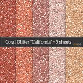 Coral Glitter Paper