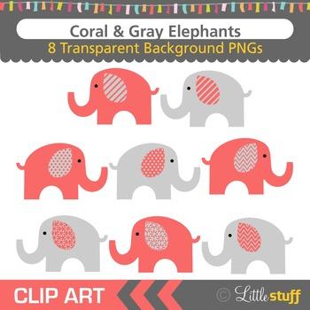 Coral & Gray Elephant Clipart, Elephant Clip Art