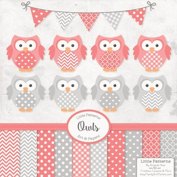 Coral & Grey Owl Vectors & Papers - Baby Owl Clipart, Owl Clip Art, Baby Owls
