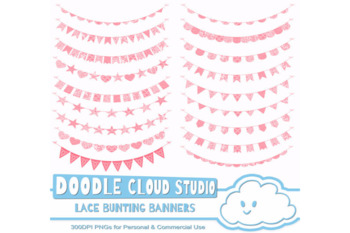 Coral Lace Burlap Bunting Banners Cliparts, multiple Peach lace texture flags