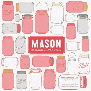 Coral Mason Jars Clipart & Vectors - Ball Jar Clipart