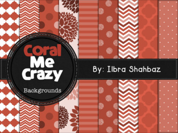 Coral Me Crazy Digital Paper Backgrounds