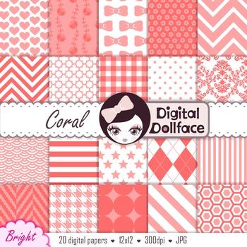 Coral / Melon Pink Digital Paper - Basic Bright Background Patterns