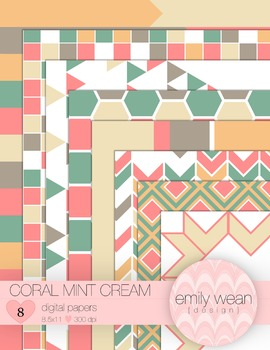 Coral Mint Cream - Digital Papers