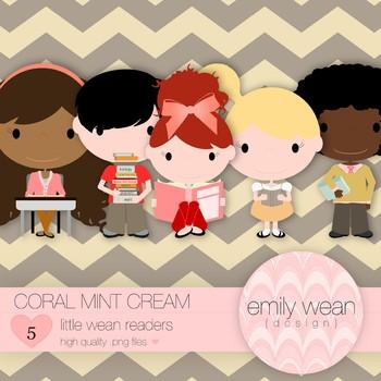 Coral Mint Cream - Little Readers Clip Art