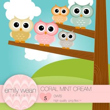 Coral Mint Cream - Owl Clip Art