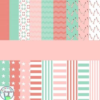 Coral, Mint, and Light Pink Digital Paper Bundle
