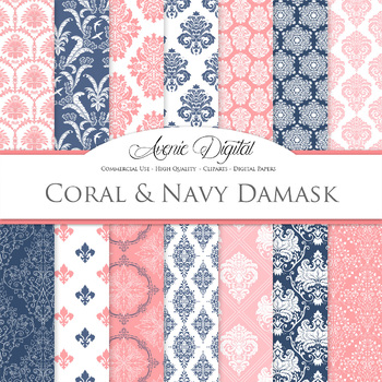 Coral Navy Wedding Damask Digital Paper patterns - ornate floral backgrounds