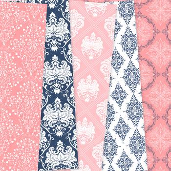 28 Coral Navy Wedding Damask Digital Paper patterns ornate floral background