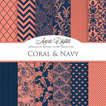 Coral Navy Wedding Digital Paper patterns - sealing light blue backgrounds