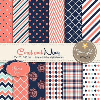 Coral, Navy and Aqua Blue Digital Papers