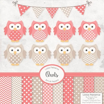 Coral Owl Vectors & Papers - Baby Owl Clipart, Owl Clip Art, Baby Owls