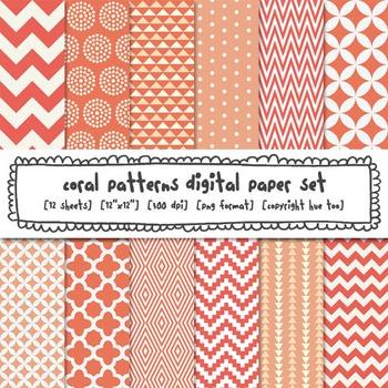 Coral Patterns Digital Paper Set, Coral Digital Backgrounds for TpT Sellers