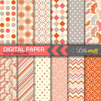 Coral Patterns Digital Papers, Geometric Digital Backgrounds