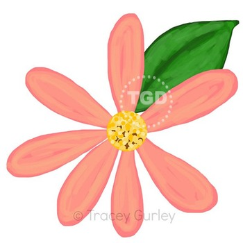 Coral Peach Daisy with and without leaf Printable Tracey Gurley Designs