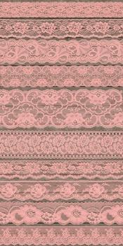 Coral Peach Pink Salmon Lace Borders Clipart digital scrapbook embellishments