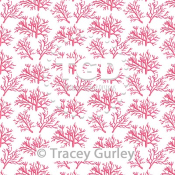 Coral - Pink on White digital paper Printable Tracey Gurley Designs