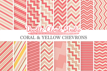 Coral Pink Yellow Chevron digital paper, Chevron and Stripes  pattern, tribal