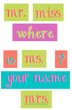 Coral, Purple, Teal and Green - WORDS for your Where is the counselor sign